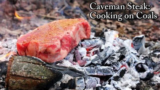 Caveman Steak - Cooking on Coals